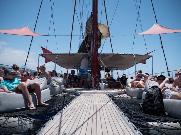Het dek van de Freebird boot