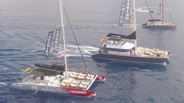 3 Freebird catamarans cruising past each other