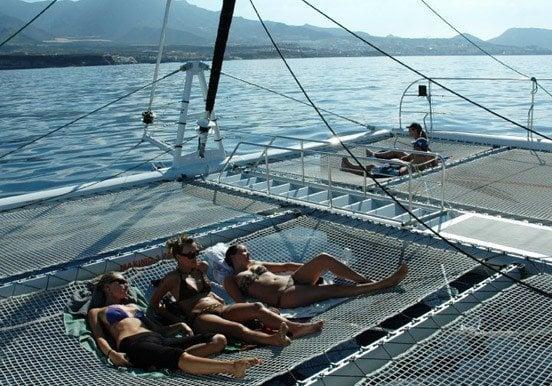 Laying nets of the Freebird catamaran in Tenerife