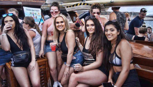 girls enjoying a boat party