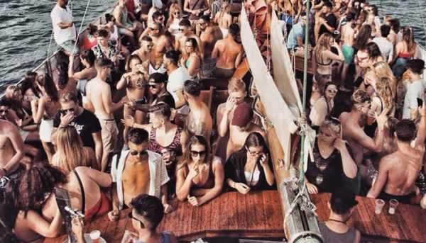 people having a party on a boat
