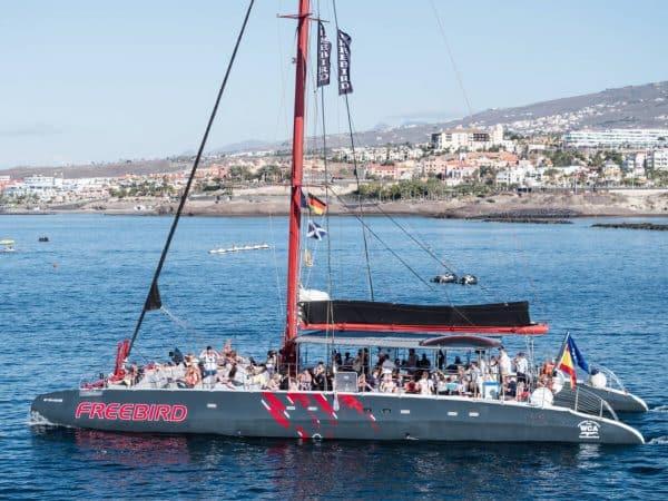 Freebird catamaran just leaves Puerto Colon harbour