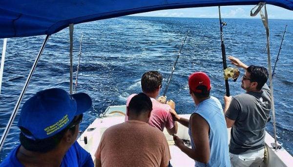 group of people fishing