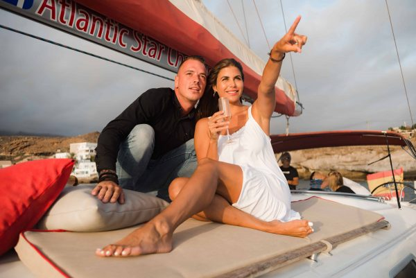 Couple on a romantic boat trip in Tenerife