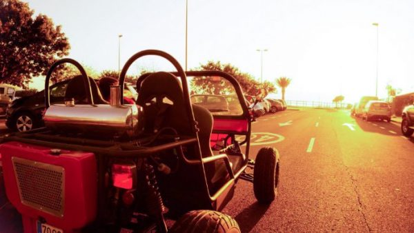 Top buggy on the road