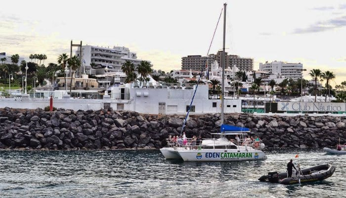 Eden Catamaran is leaving the harbor