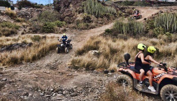 Group enjoying riding quads