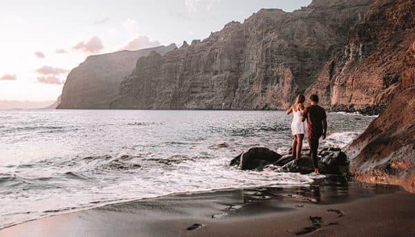 Couple exploring the beach
