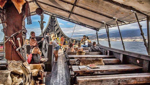 Inside the viking ship