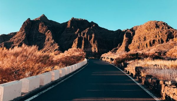Road located in volcanic landscape