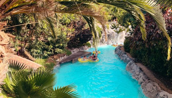 Bands going down the lazy river at Siam Park