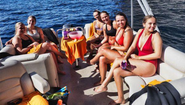 girls having a break from jet skiing