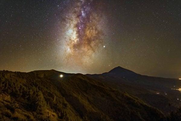 Teide by night with a starry sky