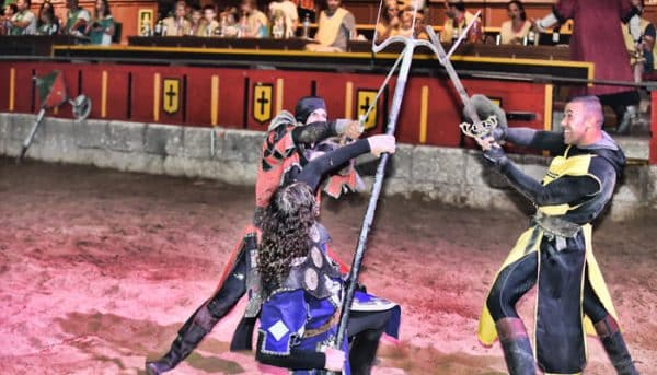 knights fighting during medieval show