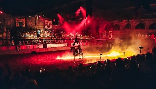 Knight on a horse surrounded by fire
