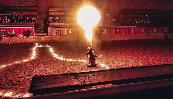 Fire spitter performing