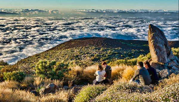 People at El Teide National Park waiting for sunset
