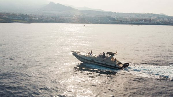 Group of people enjoying the view of Costa Adeje on a speedboat trip