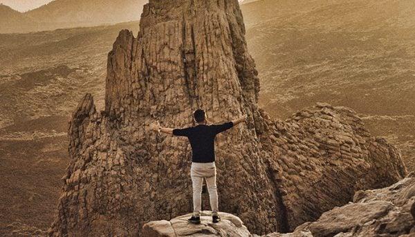 Man posing in the national park of El Teide