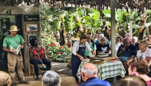Group receives explanation of wine from the canary islands