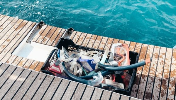 Snorkelling equipment on the Christmas boat trip