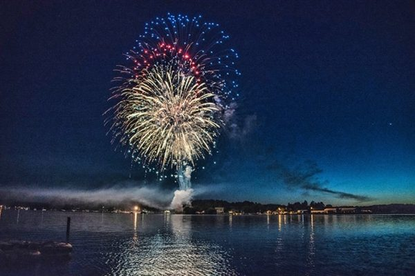 Fireworks above the sea
