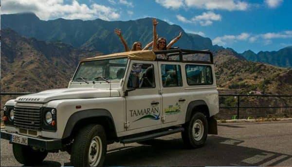 Customers have fun on a jeep safari in Tenerife
