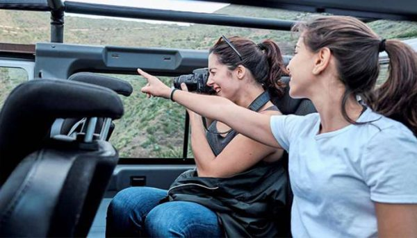 Girls exploring the island in a Jeep