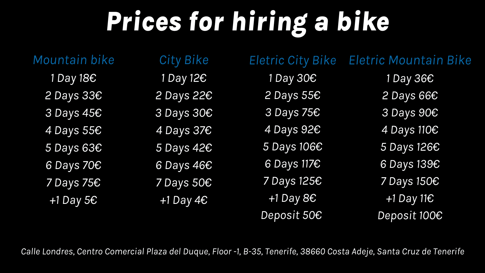 Prices for hiring a bike in Tenerife