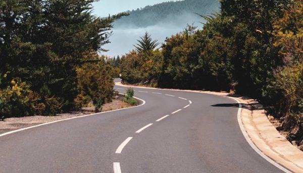 Road near El Teide that you pass on a bike tour