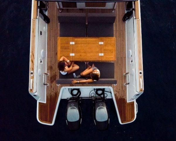 Backside of the luxury motor yacht