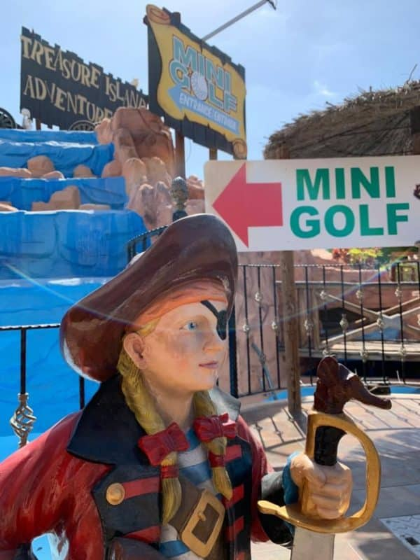 Entrance to the mini golf club in Playa de las americas