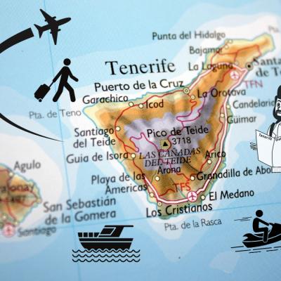 Toeristische attracties kaart van Tenerife