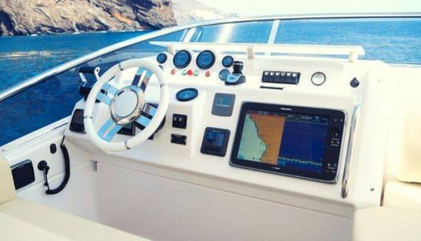 Captain's seat of the Tigresa yacht