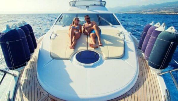 Couple enjoy a private boat trip on the Tigresa boat