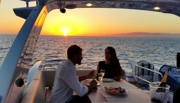 Luxury yacht trip in Tenerife during sunset